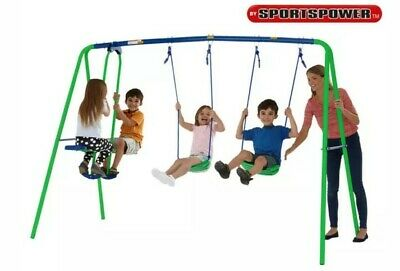 New Kids Double Swing & Glider Set Children Outdoor Games Multi Play Set Gift • 109.99£