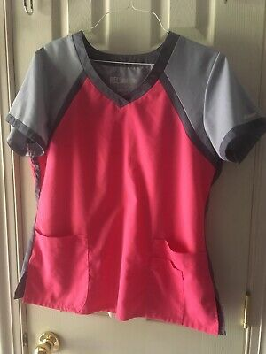 $8.99 • Buy Greys Anatomy By Barco Active Womens Pink/gray Scrubs Top Size Large