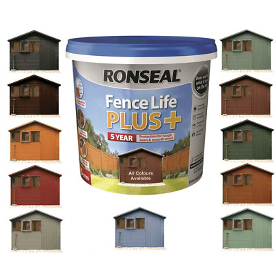 Ronseal Fence Life Plus Garden Shed & Fence Paint 5L- UV Potection - All Colours • 15.75£