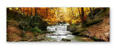 Waterfall Forest River Landscape Box Framed Stretched Canvas Wall Art Panoramic • 34.99£