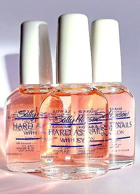 3 X Sally Hansen Hard As Nails With Nylon Natural 13.3ml - Free Delivery • 7.90£
