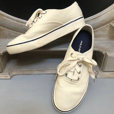 $14.95 • Buy Polo Sport Ralph Lauren Canvas Sneakers Shoes Spell Out Logo Off White Women's 7