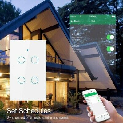 AU31.24 • Buy Smart Home WiFi Touch Light Wall Switch Panel For Alexa Google APP 4 Gang AU