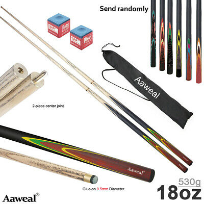 58  SUPERIOR ASH 2 PIECE SNOOKER / POOL CUES With 9.5mm Tips • 20.99£