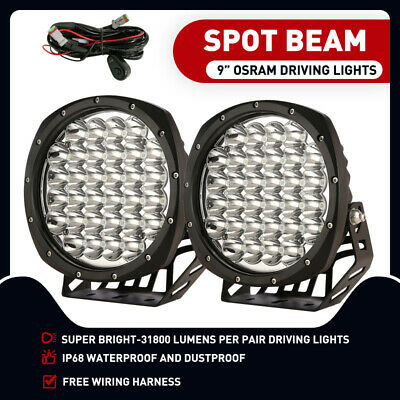 AU102.91 • Buy New Design Pair 9 Inch OSRAM LED SPOT Driving Lights 4X4 Round Spotlights Black
