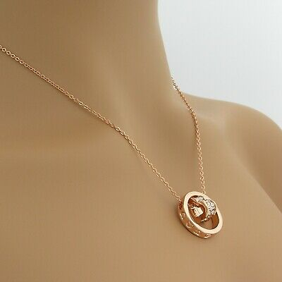 Eternity Circle & Heart Rose Gold Plated Austrian Crystals Chain Necklace Gift • 5.95£