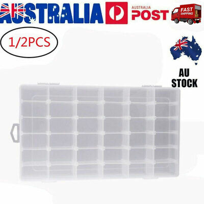 AU12.99 • Buy OULII 1/2X 36-Grids Plastic Storage Box Jewelry Earring Container Organizer Case