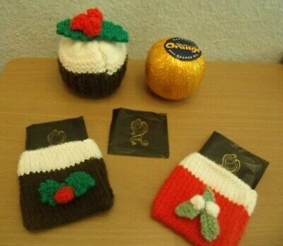 Knitting Pattern Xmas Pudding Chocolate Orange Cover & After Eight Mint Covers • 2.99£
