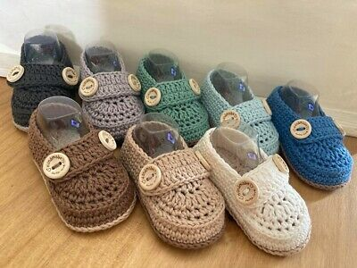 Handmade Crochet Knitted  Newborn Baby Boy Loafers Booties Boy Shoes 3 Sizes • 5.98£