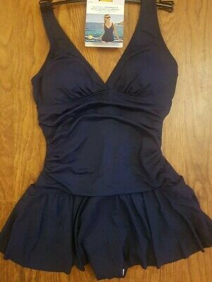 M&S CollectionSecret Slimming Padded Plunge Skirted Swimsuit  Size 16 NAVY • 16.99£