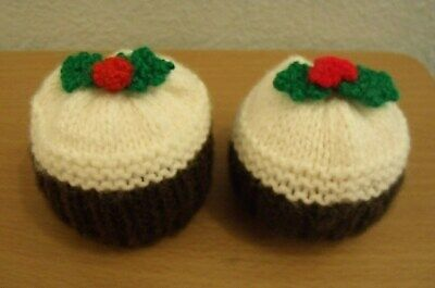 2 X Hand Knitted Christmas Pudding Chocolate Orange Covers Also Fits Bath Bomb • 4.99£