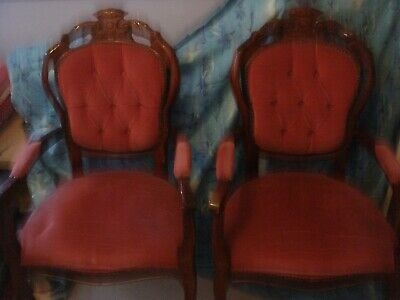 2 X Vintage Baroque Louis French Rococo Style Carver Chairs Pink • 60£