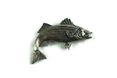 $ CDN22.52 • Buy Fishing Hat Pin Brooch Bass Fisherman Silver Tone