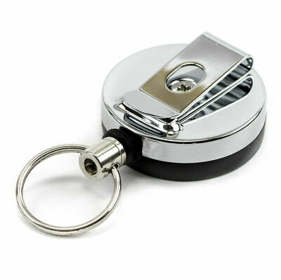 £3.39 • Buy Retractable Key Chain Ring Stainless Steel Pull Recoil Rope Heavy Duty Cord