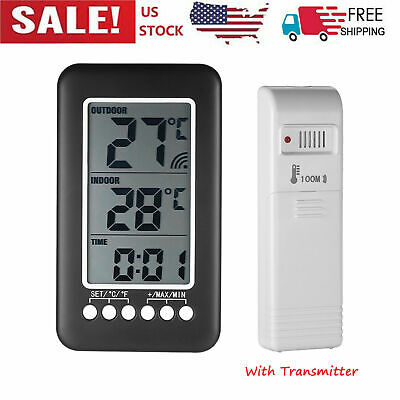 $13.55 • Buy Digital Indoor Outdoor Thermometer Clock Temperature Meter Wireless Transmitter