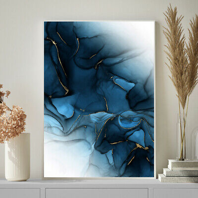 Navy Blue & Gold Wall Art Decor Abstract Watercolour Painting Print A4 A3 A2 A1 • 9.99£