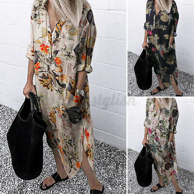 AU17.10 • Buy ZANZEA Women Long Sleeve Maxi Dress Kaftan Plus Size Bohemian Retro Floral Dress