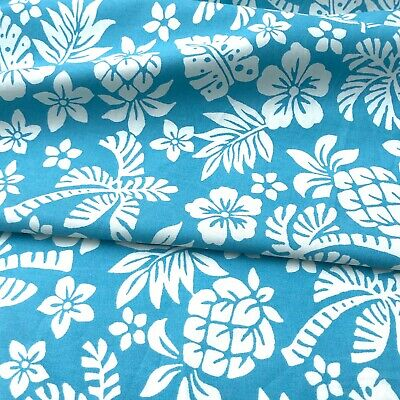 BLUE Tropical Hawaiian Floral Pure 100% Cotton FABRIC Dressmaking Craft Bunting • 6.50£