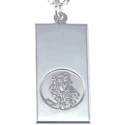 NEW Sterling Silver St Christopher Ingot Pendant With 18 Chain 16mm X 30mm • 33.84£