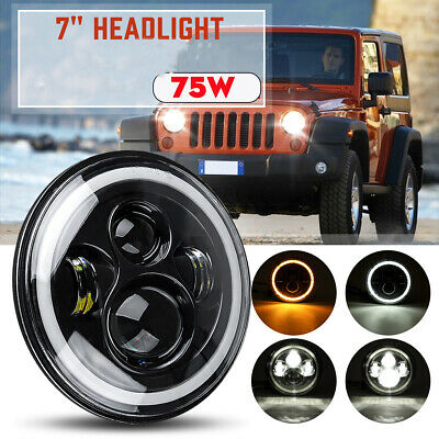 AU32.58 • Buy 7'' Motorcycle Car LED Headlight Projector Halo Angle Eyes DRL Hi-Lo Beam DOT AU