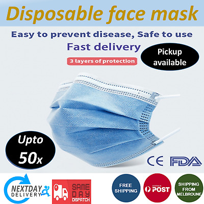 AU12.44 • Buy Protective Disposable 3 Layer Face Mask Anti-Dust Respirator & Breathable 20/50X