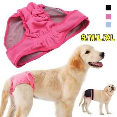 UK Female Pet Dog Pants Bitch Heat In Season Menstrual Sanitary Nappy Diaper SXL • 6.99£