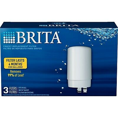 Brita Tap Water Faucet Filter Replacement, 3 Count - White 💧💧💧 FAST SHIPPING  • 22.39£