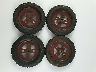 4 Vintage Meccano 2 Inch Pulleys With Dunlop Cord Tyres • 19£