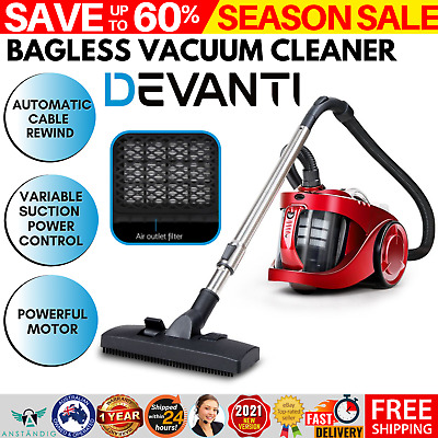 AU79.90 • Buy Devanti Bagless Vacuum Cleaner 2200W Cyclone Cyclonic HEPA Filtration System Red