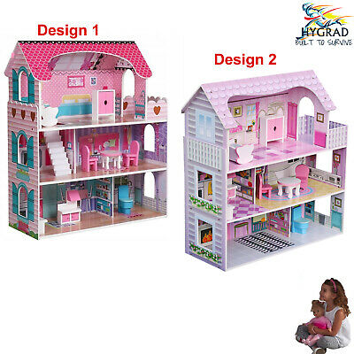 £54.90 • Buy Wooden Kids Doll House All In 1 With Furniture & Staircase Best Dolls Role Play