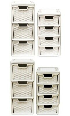 Mini 3 & 4 Plastic Rattan Drawer Storage Tower Unit Office Desk Tabletop Desktop • 12.99£