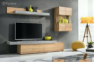 Modern Wall Unit TV Display Stand Unit CONCRET Led Free P&P Push - Click • 469£