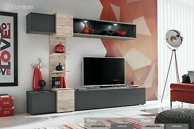 Modern Wall Unit TV Display Stand Unit RIO Led Lighting Free P&P Push - Click • 489£