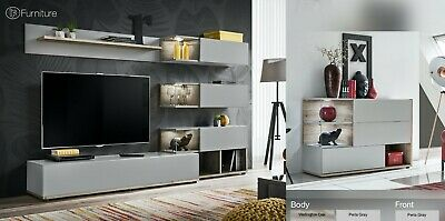 Modern Wall TV Display Stand Unit SILK Perla Gray Push - Click Led's Free P&P • 459£