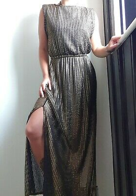 River Island Gold & Black Textured Grecian Style Maxi Dress Size 10 • 10£