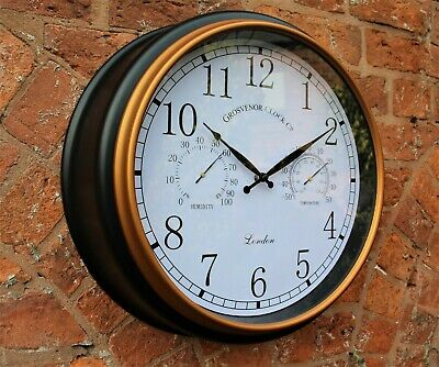 Outdoor Garden Station Wall Clock Thermometer & Humidity 45cm  Black Gold Rim • 22.95£