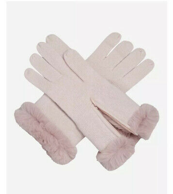 New N. Peal Fur And Cashmere Dusty Pink Women's Gloves Rex Rabbit Fur Lining • 95£