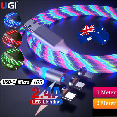 AU17.20 • Buy Led Light Magnetic Charger Cable Glow Fast Charging Micro USB Type C For IPhone