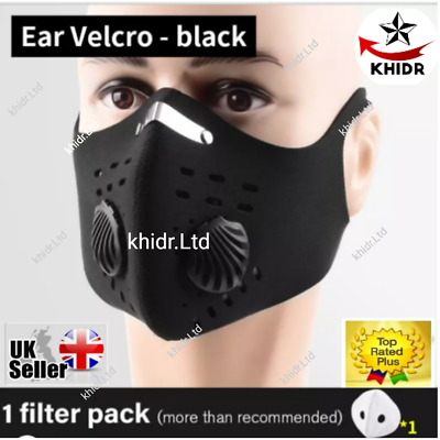 Face Mask Reusable Washable Anti Pollution PM2.5 Two Air Vent With Filter UK# • 4.95£