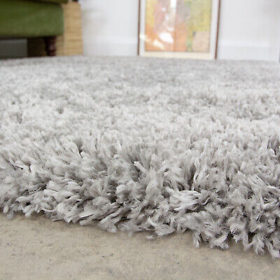 Cosy Soft Silver Grey Shaggy Rug Non Shed Deep Living Room Rugs Long Hall Runner • 29.95£
