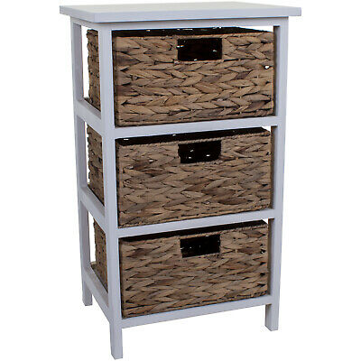 3 Wicker Drawers Chest Unit Bedside Table Bathroom Storage Wooden Basket Home  • 49.99£