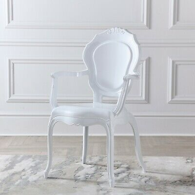 £89 • Buy White Gloss French Style V2 Dressing Room Dining Arm Chair Louis Rococo Chair