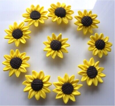 🌻🌻🌻 10 BEAUTIFUL HIGH QUALITY POLYMER CLAY SUNFLOWER BEADS 30mm🌻🌻🌻 • 5.99£