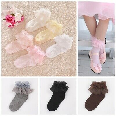 Girls Baby Toddlers Kids Frilly Lace Ankle School Wedding Party Socks 9m- 8years • 3.29£