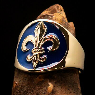 $24 • Buy Round Mens Brass Costume Lily Ring French Fleur De Lis Symbol Blue Size 14