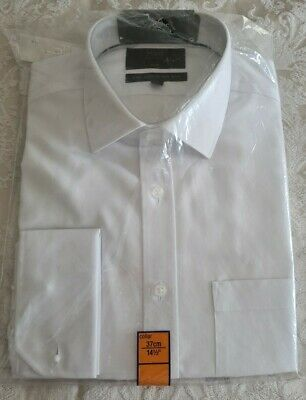 Marks & Spencer M&S Collection Men's White Slim Fit Double Cuff Shirt, 14½, BNWT • 14.99£