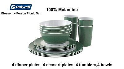 £26.98 • Buy Outwell Blossom 4 Person Picnic Set - 100% Melamine - Camping And Picnics