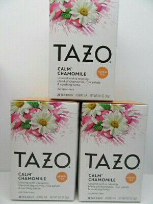 Lot Of 3 Boxes Tazo Herbal Tea  Calm Chamomile (Total Of 60 Individual Bags) • 15.73£