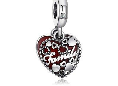 AU27.50 • Buy Family Red Heart S925 Sterling Silver Dangle Charm By Charm Heaven