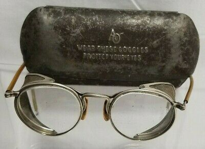 $95 • Buy Antique A/O Steampunk Industrial Glasses Motorcycle Aviator Goggles W/Metal Case